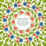 Magische Blumen, Beeren und Anlagen für Grußkarte Stockfoto
