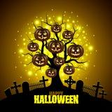 Magische boom met de achtergrond van pompoenenhalloween vector illustratie