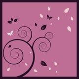 Magische boomachtergrond en vlinders Stock Afbeelding