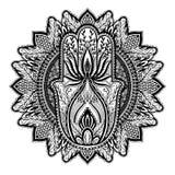 Magische de godsdienst Aziatische mandala van Amulethamsa r   vector illustratie