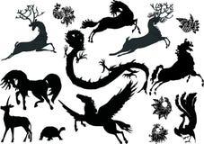 Magische dierensilhouetten Stock Afbeeldingen