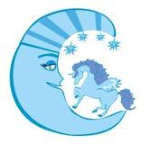 Magische eenhoorn en maan Stock Afbeelding