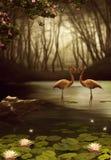 Magische flamingo's Stock Afbeelding