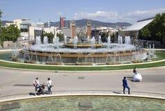 Magische fontein in Barcelona Stock Foto