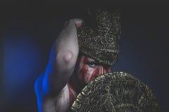 Magische, gebaarde mensenstrijder met metaalhelm en schild, wildernis Vi Stock Foto's
