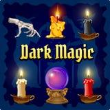 Magische Gegenstände auf einem dunkelblauen Hintergrund lizenzfreie abbildung