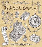Magische Gegenstände für Halloween - Pentagram, schlechtes Buch, Tarockkarten vektor abbildung