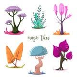 Magische geplaatste bomen Witte achtergrond Royalty-vrije Stock Afbeeldingen