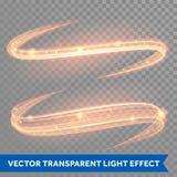 Magische glühende helle Strudelspur des Vektors Funkelnfeuer-Funkenwelle Stockfotografie