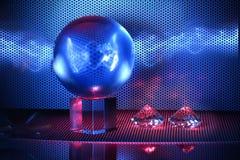 Magische Glaskugel mit blauem Blitz Stockfoto