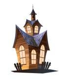 Magische Haus-Karikatur-Illustration auf dem weißen Hintergrund lokalisiert Lizenzfreie Stockbilder