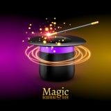 Magische hoed met toverstokje Vectortovenaarprestaties Wizzard toont achtergrond stock illustratie