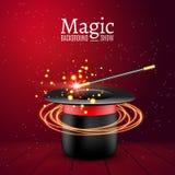 Magische hoed met toverstokje Vectortovenaarprestaties Wizzard toont achtergrond vector illustratie