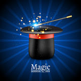 Magische hoed met toverstokje Vectortovenaarprestaties Wizzard toont achtergrond royalty-vrije illustratie