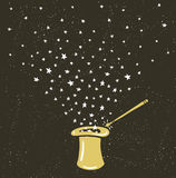 Magische Hoedenachtergrond met sterrenstof en toverstokje royalty-vrije illustratie