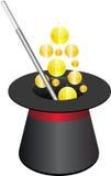 Magische Hut- und Goldmünzen Stockbild