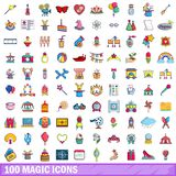 100 magische Ikonen eingestellt, Karikaturart Lizenzfreies Stockfoto