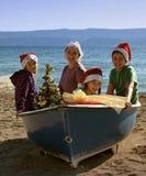 Magische Kerstmis aan boord Stock Afbeelding