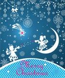 Magische Kerstmis die blauwe kaart met document begroeten die kleine engelen, sneeuwvlokken, hangende snuisterijen, kanten decora stock illustratie