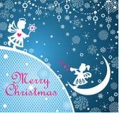 Magische Kerstmis die blauwe kaart met document begroeten die kleine engelen, sneeuwvlokken, kanten decoratie en Kerstmisster sni royalty-vrije illustratie