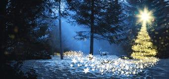 Magische Kerstmisscène in het hout met een hert royalty-vrije stock foto's
