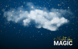 Magische Kerstmiswolk Glanzende sterren De abstracte achtergrond van de nachthemel Vectorillustratiekerstmis Feestof Stock Foto's