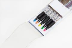 Magische kleurenpennen Royalty-vrije Stock Foto's