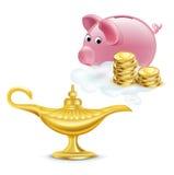 Magische lamp met gouden muntstukken en geïsoleerd spaarvarken Stock Foto's