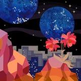 Magische Landschaft Orange Berge und rote Kosmosblumen im Vordergrund und im nächtlichen Himmel mit Sternen und Planeten stock abbildung