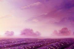 Magische lavendelgebieden bij dageraad, olieverfschilderij op canvas stock illustratie
