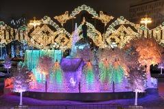 Magische Lichter des musikalischen Waldes auf Pushkinskaya-Quadrat - Magie Lizenzfreie Stockbilder