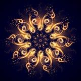 Magische mandala Mooie abstracte fractal van lichtgevende lijnen op een donkerblauwe achtergrond Geheimzinnig ontspanningspatroon stock illustratie