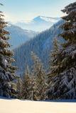 Magische mening in de de winterbergen na sneeuwval royalty-vrije stock foto's