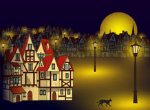 Magische mittelalterliche Stadt Stockfotos