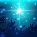 Magische Muziekachtergrond met silhouetten - Vector Royalty-vrije Stock Fotografie