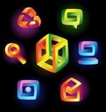 Magische pictogrammen op zwarte achtergrond Stock Fotografie