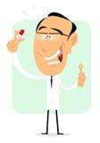 Magische Pille durch wütenden Professor Lizenzfreie Stockbilder