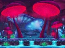Magische Pilz-Höhle - mystischer Hintergrund (nahtlos) Stockfotografie
