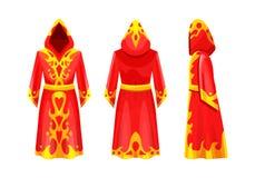 Magische rode kaap met ornament, mantel van tovenaar, geheimzinnig kostuum vector illustratie