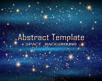 Magische Ruimte De Oneindigheid van het feestof Abstracte heelalachtergrond Blauwe Gog en Glanzende Sterren Vector illustratie stock illustratie