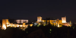 Magische 's nachts Alhambra Granada, Andalusia, Spanje Royalty-vrije Stock Afbeeldingen