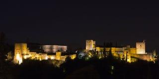 Magische 's nachts Alhambra Granada, Andalusia, Spanje Royalty-vrije Stock Fotografie