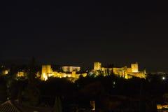 Magische 's nachts Alhambra Granada, Andalusia, Spanje Stock Foto's