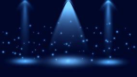 Magische Schijnwerpers en Fonkelingen op Donkerblauwe Achtergrond royalty-vrije illustratie