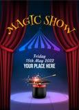 Magische Showplakat-Designschablone Magischer Vektorhintergrund der Illusion Theatermagierflieger mit Huttrick vektor abbildung