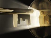 Magische sleutel vóór een sleutelgat Stock Afbeelding
