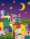 Magische stad bij nacht Royalty-vrije Stock Afbeelding
