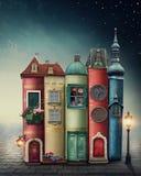 Magische stad met boeken royalty-vrije stock afbeeldingen