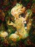Magische stralende feegeest in boswoning die het drijven lichten maken stock illustratie