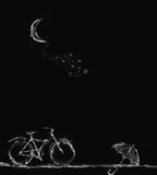 Magische Szene des Fahrrades, des Regenschirmes und des Halbmonds Lizenzfreie Stockfotografie